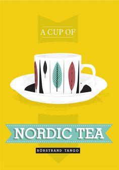 Tea cup print kitchen art poster