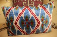 VINTAGE SILK VELVET IKAT ACCENT PILLOW by MetrohouseDesigns for $135.00
