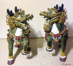Qilin Dragon Imperial Creature Chinese Feng Shui Ceramic Statue ...
