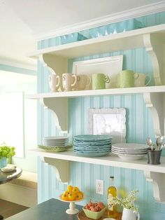 Olson of House of Turquoise: Cottage Kitchen Makeover Love me some beadboard Sweet Home, Cottage Style Decor, Shabby Cottage, Cottage Farmhouse, Cottage Chic, French Cottage, Cottage Ideas, Coastal Cottage, Country Cottage Decorating