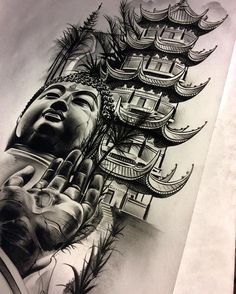 "439 Likes, 21 Comments - David Reveles (@tattoospooky_d) on Instagram: ""Finished up the Buddha/temple/meditation piece. Going to tuck it In between some other work on the…"""