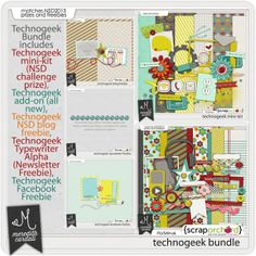 Technogeek digital scrapbook bundle coordinates with the NSD 2013 prizes and gifts.  Some pieces were previously released as prizes and/or gifts.  Please check your files to avoid duplicate purchases.