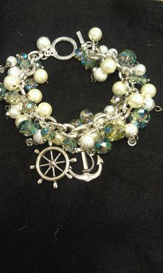 Nautical Beaded Bracelet with Charms by AdelaidsCreations on Etsy, $15.00