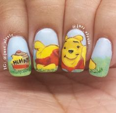 Winnie the Pooh Nails -- Credit to just_alexiz on Instagram