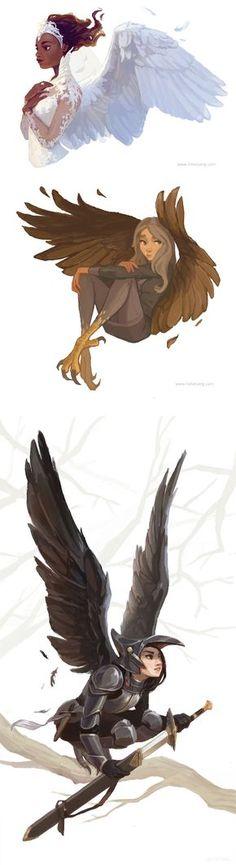 La paloma, un águila y un cuervo.