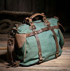 Women Vintage Retro Canvas Leather Weekend Shoulder Bag Duffle Travel Tote Bag