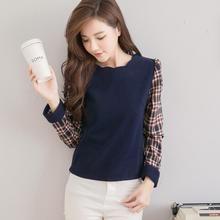Tokyo Fashion - Plaid-Sleeve Blouse