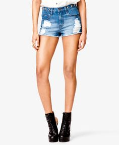 Studded Distressed Denim Shorts - $19.80