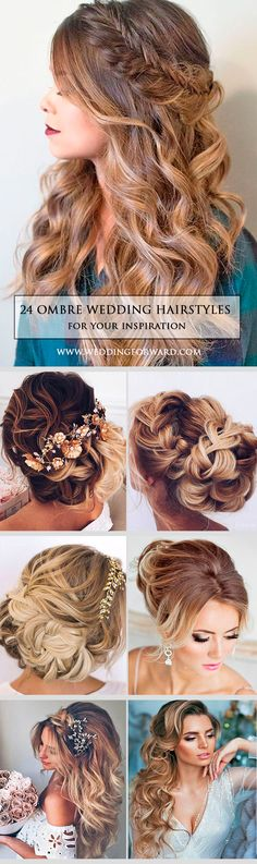 24 Modish Ombre Wedding Hairstyles ❤ Ombre wedding hairstyles are on trend this year. Here are sizzling solutions for black, brown and blond hair. Technique looks good on long and short hair. See more: http://www.weddingforward.com/ombre-wedding-hairstyles/ #weddings #hairstyles