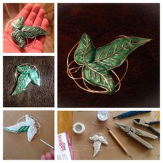 Elven cloak broach. Hand made. DIY. made with silver jewelry wire and poly form Sculpey  clay.