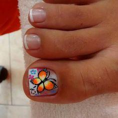 Cute Pedicure Designs, Toe Nail Designs, Cute Toe Nails, Cute Nail Art, Hello Nails, Painted Toe Nails, Pretty Pedicures, Faded Nails, Butterfly Nail Art