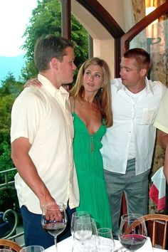 After wrapping the filming of 'Ocean's Twelve' George Clooney invites many of his big named co-stars and closest friends to his villa in Laglio for a weekend of cocktails, music, and dancing. During the day Clooney enjoys himself out on the golf course at the country club in Menaggio. Matt Damon, Jennifer Aniston, and Brad Pitt.