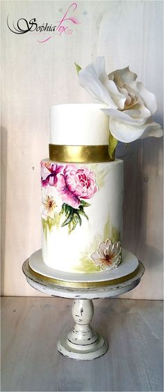 """Glacê Painting Style """"Painted Wedding Cake with wafer paper Rose"""""""