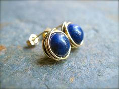 Lapis Lazuli Post Earrings in 14K Gold Fill, Wire Wrapped Blue Gemstone Post Earrings