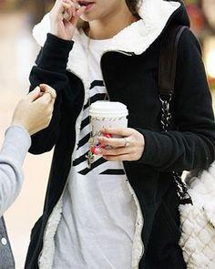 Black Long Sleeve High Collar Full Zip Fleece Hooded Hoodie