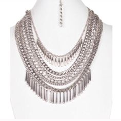 """Statement necklace Silver layered chain statement necklace, NWT. 17.4"""" with 3.2"""" extender Jewelry Necklaces"""