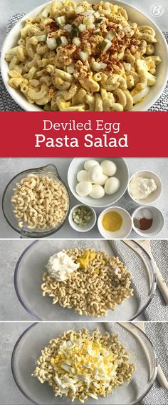 Deviled Egg Pasta Salad Deviled eggs take center stage in this pasta salad, perfect for holidays, picnics and potlucks. Make it a little easier by using hard-boiled eggs from the deli. This recipe will make you forget everything you thought you knew about I Love Food, Good Food, Yummy Food, Tasty, Cooking Recipes, Healthy Recipes, Healthy Food, Salad Recipes, Healthy Mummy