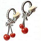 CHRISTIAN DIOR Platinum Diamond Ox-Blood Coral Berry Bead Dangle Earrings - Bead, BERRY, Christian, Coral, Dangle, Diamond, Dior, Earrings., OxBlood, Platinum - http://designerjewelrygalleria.com/christian-dior/christian-dior-earrings/christian-dior-platinum-diamond-ox-blood-coral-berry-bead-dangle-earrings-2/