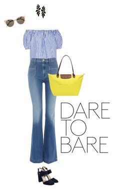 """""""Dare to Bare"""" by freddarling ❤ liked on Polyvore featuring MDS Stripes, Hudson Jeans, Prada, Longchamp, Fendi, widelegpants and offshoulder"""