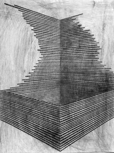 two-point perspective - danny jauregui / Ruin #9 Graphite and ash on panel