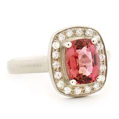 Checkerboard Cushion Pink Tourmaline Ring