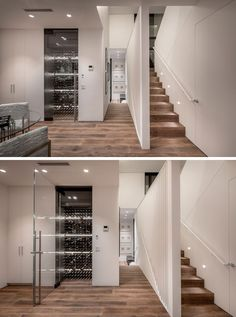 Featured throughout this modern house are awide plank, long dimension engineered wood floors, that help to create a seamless appearance. A wine room with a pivoting glass door is located next to a closet and bathroom. Hidden Lighting, White Staircase, Spanish Interior, Hidden Kitchen, Small Hallways, Engineered Wood Floors, Wood Stairs, Wide Plank, Glass Door