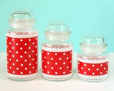 Vintage Anchor Hocking Canisters Polka Dot Lace by earlgreystudio