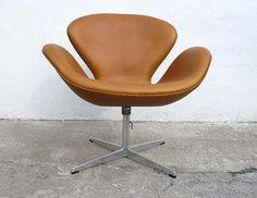 original arne jacobsen brown leather swan chair by fritz hansen