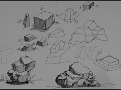▶ Pen & Ink Drawing Tutorials | How to draw rocks, stones and boulders - YouTube I love this guy!