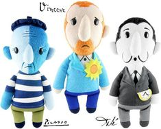 Plush Dolls Arty Farties with Van Gogh, Picasso and Dalí