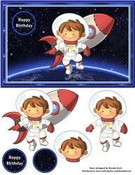 Space Birthday Boy 2 on Craftsuprint - View Now! Boy Birthday, Happy Birthday, Merry Christmas Card, Lego Batman, Baby Elephant, Kids Boys, Decoupage, Card Making, Card Holder