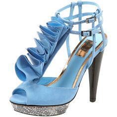 PASSION Frill Shoe By Boutique ($79) ❤ liked on Polyvore featuring shoes, sandals, heels, blue, scarpe, topshop, blue sandals, leather sandals, platform shoes and heeled sandals