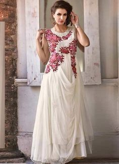 Off White designer long evening gown in net and georgette Indian Wedding Gowns, Wedding Dresses, Ethnic Wedding, Off White Designer, Indowestern Gowns, Net Gowns, Long Evening Gowns, White Gowns, Gowns Online