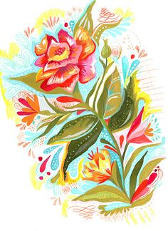 Art work by Katie Lombardo: Watercolor/acrylic/colored pencil floral piece. So charming!