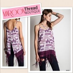 ✳️Vibes To the Beat Berry Top✳️ Hippie Bohemian Boho Bohéme  * Gypsy * Groovy Collection   Don't you just want to dance with this Vibes to the Beat Top! The fit is perfect! It's loose enough to get you freely move and the sexy detail on the back will make eyes popping.  Team it with jeans or shorts.  Imported  ❌Trade     Paypal  at http://www.maroonthreadboutique.com Tops Tank Tops