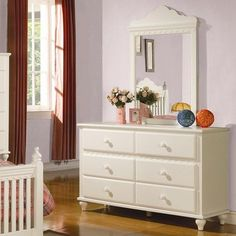 Pepper White Dresser with 6 Drawers