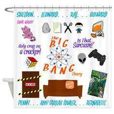 Cute #TheBigBangTheory symbols and character name collage official fan designed merchandise. Find this shower curtain and more fan gear like T-shirts, Mugs, and more