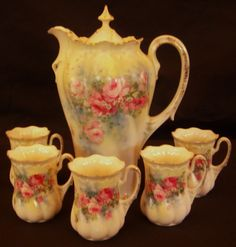 RS Prussia Chocolate Set (5 Cups) Circa late 1800's