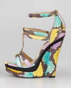 """I have always loved wedge shoes, and this one is so much fun! Amazing snakeskin printed colors and great height is something Iabsolutelyadore about this Rachel Zoe """"Katia"""" platform from spring/summer 2013 collection.  Price $395. Click here to buy."""
