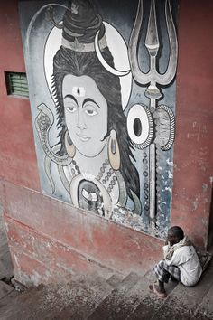 ,Lord Shiva mural painting.