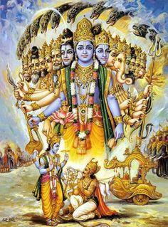 Krishna shows Arjuna his splendour