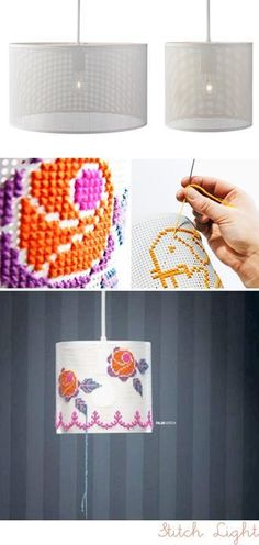 DIY cross stitch lamp. Interesting possibilities... You could do a solid color Greek key design