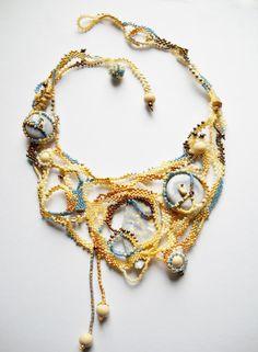 Beaded necklace freeform peyoteceramic by Calliphorabeads on Etsy