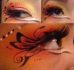 Burning butterfly makeup Chelsea Stewart - Famous Last Words Butterfly Face Paint, Butterfly Makeup, Butterfly Eyes, Love Makeup, Makeup Art, Beauty Makeup, Hair Makeup, Beauty Box, Diy Halloween Costumes