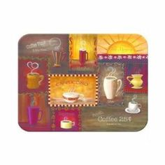 McGowan's TufTop Coffee Time Cutting Board by McGowan. $20.95. Easy to clean; Just use a damp cloth. Non-stick texture. Stain resistant. Non skid feet on the bottom. Heat resistant. This 8-3/4-inch by 11-3/4-inch TuffTop kitchen board features a Coffee Time design that is mounted underneath highly tempered glass. The surface is textured and corners are rounded.