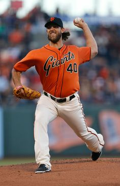 San Francisco Giants' Madison Bumgarner pitches against the Philadelphia Phillies in the first inning at AT&T Park in San Francisco, Calif., on Friday, August 15, 2014. (Jim Gensheimer/Bay Area News Group)