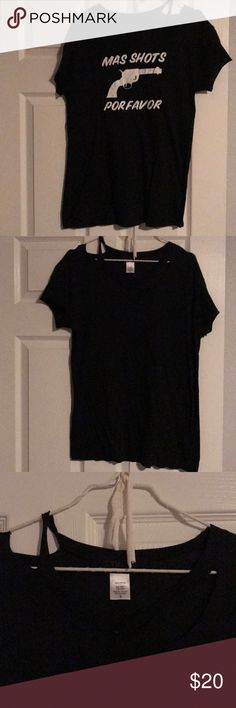 """Beach Riot """"Mas Shorts Por Favor"""" Tee - Black S Loose fitting tee with graphic on back and plain in front. Has distressed look in the front collar area (made that way). Beach Riot Tops Tees - Short Sleeve"""