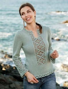 121728 01 1 adult 1 p - knitting- Sueters and cardigans - Sweaters Crochet Tunic, Cotton Crochet, Crochet Clothes, Crochet Top, Lace Tunic, Lace Dress, Knitting Stitches, Knitting Patterns, Knit Patterns