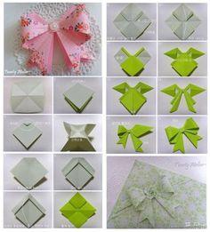 Lindo lacito, realizado en papel. Excelente idea para envolver regalos de forma especial.