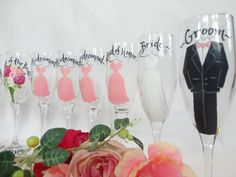 Personalized Hand Painted Bridesmaid Champagne Glasses - Bridal Party Champagne Glasses - GIFT WRAPPING AVAILABLE by samdesigns22 on Etsy